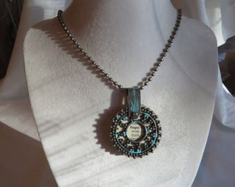 """18 3/4"""" Journal Necklace, Necklace, Turquoise, Charm, Journal Pendant, Ball Chain"""