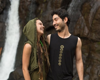 Chakra Hatha Singlet (Green) - Festival Clothing Yoga Cut Indie Boho Gypsy Bohemian Men Women Shirt Sacred Geometry Chakra Singlet Rave TXnj4INGUU