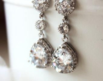 Crystal Bridal Earrings Crystal Wedding Earrings Wedding Jewelry Teardrop Earrings Halo Cubic Zirconia Post Earrings Bridal Jewellery