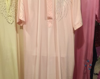 Egyptian Fifi Abdo's Famous Galabaya Short Sleeve Apricot with Sequins