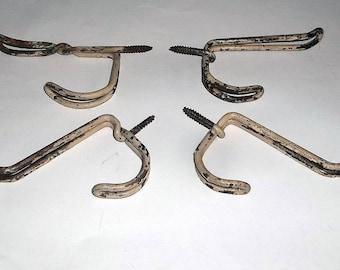 4 Vintage Wire Coat Hooks, Old Paint