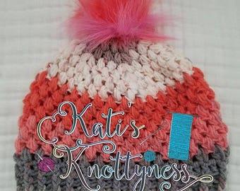 A Puffy Cupcake Crochet Beanie **FREE US shipping**