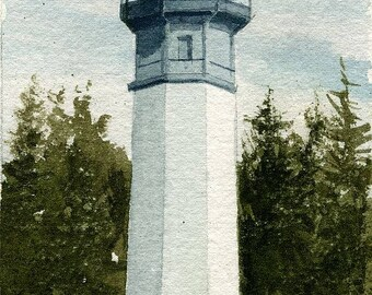 Grays Harbor Lighthouse, Westport, Washington. Matted prints, 5x7 blank notecards of original watercolor.