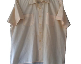 Haband Of Paterson Short Sleeve Dress Shirt Medium 16 Light Yellow