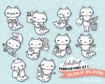 Cat Mermaid Digital Stamps Set, Planner Digi Stamps, Chibi Vector Graphics, Cute Purrmaid Art, Commercial Use Sticker Clipart, Kawaii