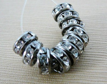 Czech Rhinestone Bead, Rhinestone Rondel Spacer Beads, 8mm Clear, Antiqued Silver Tone Frame jewelry making supplies