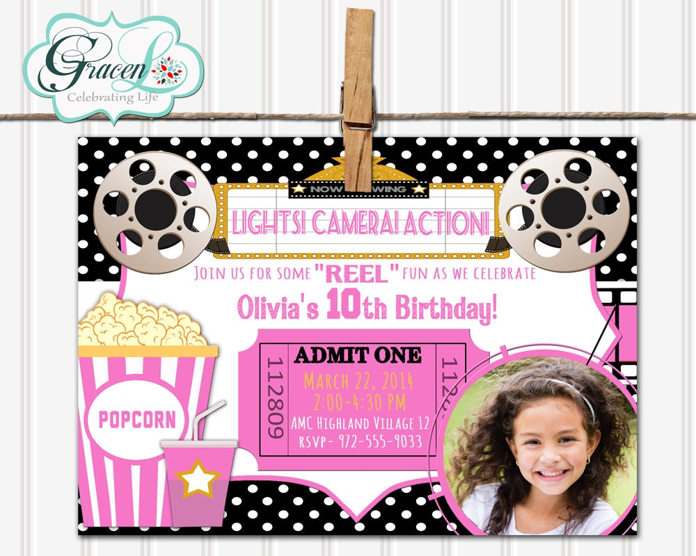 Movie Night Invitation Movie Birthday Invitation Movie Party