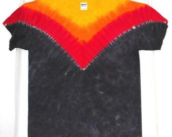 Tie Dye T Shirt in Black V Sun Burst