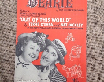 Vintage Sheet Music. Dearie by Bob Hilliard and Dave Mann. From Out Of This World. Blackpool 1950 Summer Season. Piano, Voice