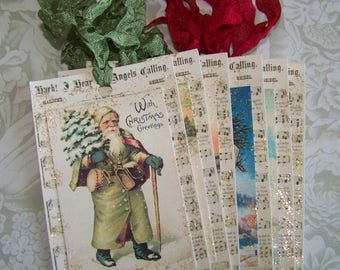 Christmas Tags Old World Santa Tags Vintage Style Set of 6