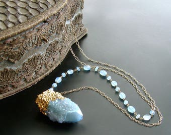 Aqua Chalcedony Spirit Quartz Pendant Layering Necklace - Pixie Necklace