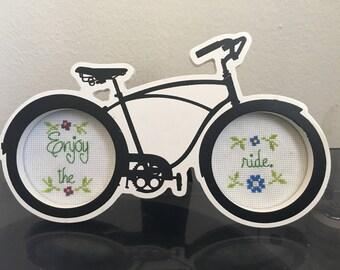 Enjoy the Ride Bicylcle frame cross stitch