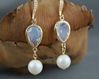 Pearl Wedding Earrings Crystal Pearl Bridal Earrings White Round Swarovski Pearl Earrings Gold Cubic Zirconia Teardrop Gold CZ Earwires