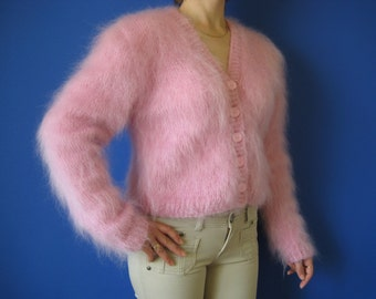 Made to order  !  New Hand knitted Pink mohair bolero sweater shrug size S,M,L
