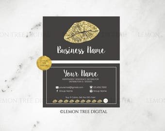 LipSense Business Card|LipSense Business Cards|Grey|Gray|Gold|Glitter|Tips and Tricks|LipSense Cards