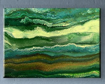 70x50 cm Original abstract acrylic fluid pour painting on canvas #38 GREEN 28x20 inch