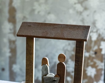 Wooden Nativity Scene made from Reclaimed Wood of Mary and Joseph with Jesus in the Manger