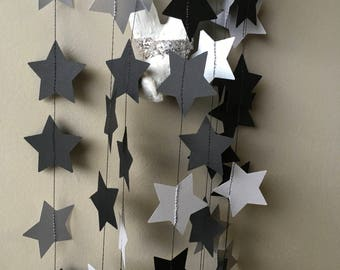 Black and Silver Star garland, Birthday Party Decoration, Paper Garland,  Wedding Garland. 12' long star garland.