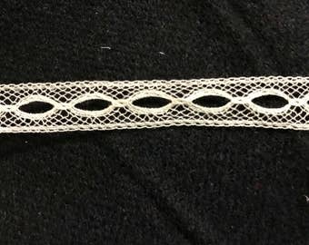 "ECRU or WHITE  French Val Lace Beading--3/8"" wide--Capitol Imports #6207/2--heirloom quality--priced by the yard"