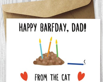 Funny Printable Birthday Card from The Cat, Cat Barfday Printable Card Download, Gross Printable Birthday Card for Him, Card For Husband