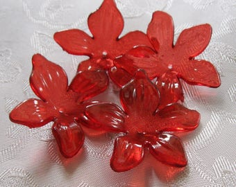 Lucite Acrylic Transparent Dark Red Flower Caps 28mm Christmas Poinsettia 421