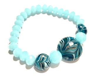 Bracelet - Beaded - Stretchy - Milky Aqua Blue Faceted Glass and Blown Glass Focal Beads - Beachy - Stack It - Boho