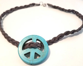 Turquoise Peace Sign Choker