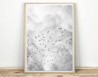 Flock Of Birds - Printable Poster, Flying Birds Print, Black And White Birds Poster, Birds In Flight, Cloud Print, Birds Wall Decor