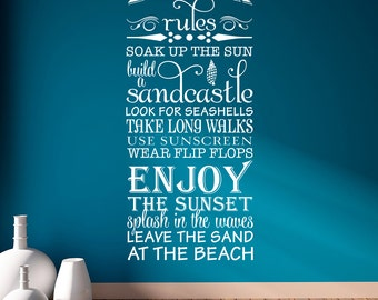 "Beach Rules ""soak up the sun, build a sandcastle, look for seashells, take long walks, use sunscreen..."" Vinyl Wall Decal Quote L182"