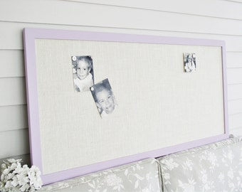 Extra Long MAGNETIC Burlap Bulletin Board - 24 x 50 in Lavender Purple Frame Organizer Narrow Magnet Board Burlap Fabric Modern Wood Frame