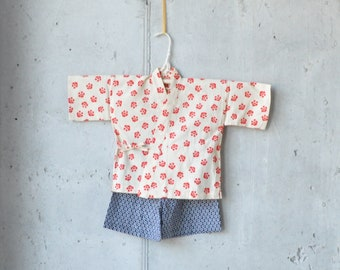BABY KIDS KIMONO jinbei || Japanese casual kimono || flower plum red black || summer resort shirt + pants || hand-dyed cotton