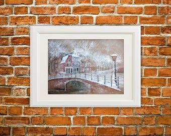 Amsterdam original painting/winter painting/Amsterdam art/Amsterdam cityscape/original pastel/snowy painting/winter Amsterdam/wall art/gift