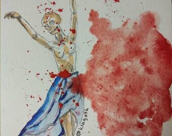 Watercolour conceptual illustratuon, till death do us part