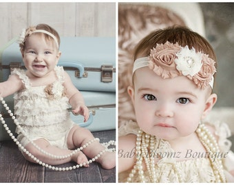 Petti Romper Headband SET,  Ivory Lace romper & baby headband, hair bow, outfit, pettiromper girl
