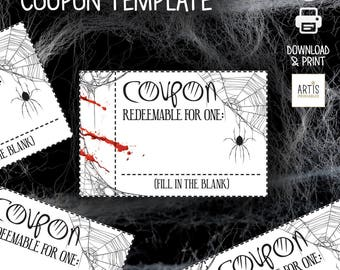 Halloween Coupon Booklet, Coupons, Empty Love Coupon, Date DIY Halloween, Halloween Love Coupons, Love Coupons for Him, digital paper coupon