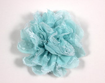3.75 inch Chiffon Lace Flower in Aqua - Flower Head for Headbands and DIY Hair Accessories