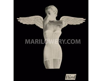 Black and White Paper Collage Print Retro Woman in Lingerie with Angel Wings 8.5 x 11 Inch Bird Art Print, frighten