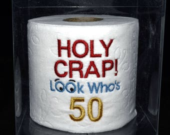 Embroidered 50th birthday toilet paper Holy Crap gag gift, table decoration centerpiece Holy Crap 50th birthday in clear display gift box