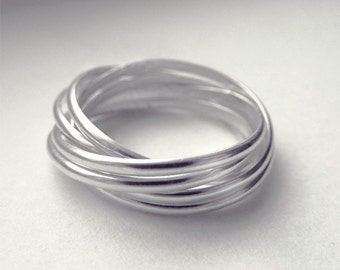 Ocean Waves: 6 band sterling silver rolling ring