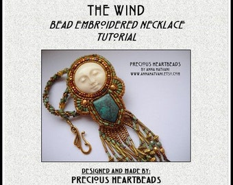 Bead Embroidery Necklace Tutorial PDF Turquoise Carved Bone Bead Embroidered