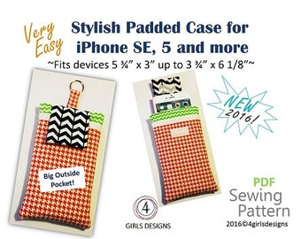 "Instant Download PDF Sewing Pattern for iPhone Padded Case and Fits More up to 6 1/8"" by 3 3/4"". NEW DiY Gift for Techies"