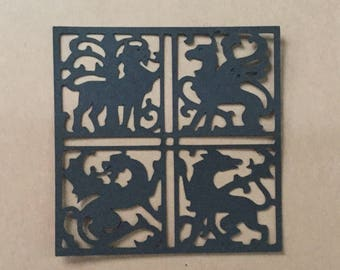 Four Dragons game of thrones embellishment for card making set of 4
