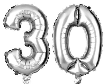 30 Number Balloons, 30th Birthday Party Balloons, 30 Balloon Numbers, 30 Party Supplies, 30th Birthday Decorations, Decor, 13 Inch Silver