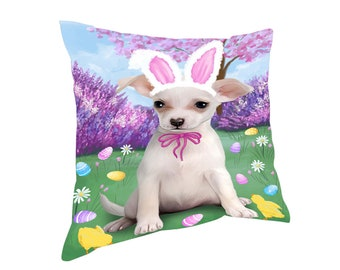 Chihuahua Dog Easter Holiday Throw Pillow