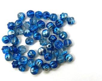 Czech Glass 5mm Melon Bead, Capri 1/2 Silver  Strand of 50 Beads