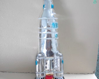 USSR Cosmonaut Space Rocket Christmas Tree Glass Ornament made in Poland