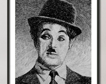 Charlie Chaplin print,  Charlie Chaplin portrait drawing, black ink drawing art,  Giclee Fine Art Poster Print