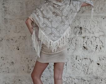 Fashion Scarf, Silk Scarf, Square Silk Scarf, Tassel Scarf, Off white, Boho Chic Fashion Accessories, Gift For Her
