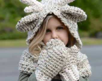 CROCHET PATTERN - Falyn Fawn Hood Set (12/18 month,Toddler, Child, Adult sizes)