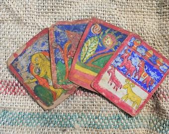 Framed set of 4 Tibetan Prayer Cards from the  19th Century